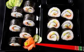 Wallpaper sticks, Japan, kitchen, background, sushi, rolls, seafood, seafoods