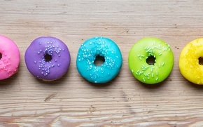 Picture colorful, rainbow, donuts, glaze, donuts