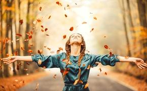 Wallpaper dress, autumn, girl, foliage, road