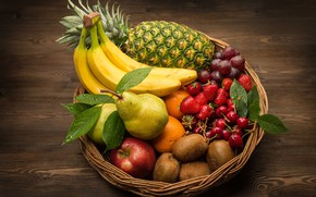 Picture basket, Apple, orange, kiwi, strawberry, grapes, pear, fruit, pineapple, banana, cherry