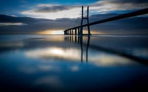 Picture sea, clouds, bridge, support, Portugal, Lisbon, Vasco da Gama