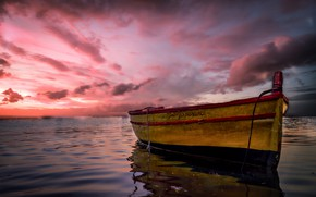 Wallpaper clouds, glow, Italy, Marzamemi, boat, Sicily, sea