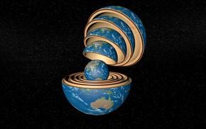 Wallpaper space, ball, earth, matryoshka, Earth