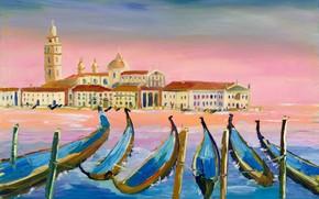Picture picture, boats, Italy, Venice, gondola, the urban landscape