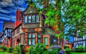 Picture flowers, England, HDR, mansion, England, Houses, Bebington