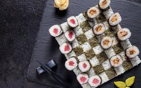 Picture fish, figure, rolls, nori