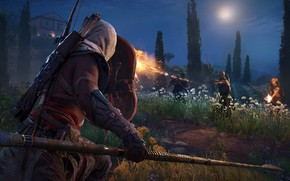 Wallpaper fight, arrow, shield, bow, spear, assassin, weapon, Assassin's Creed Origins, game, hood, man, Assassin's Creed