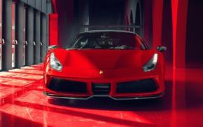 Picture Ferrari, supercar, front view, GTB, 2018, 488, Pogea Racing, FPlus Corsa