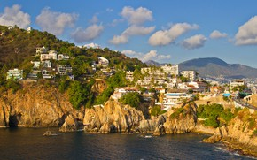 Picture sea, the sky, the sun, clouds, trees, mountains, rocks, coast, home, Mexico, Acapulco