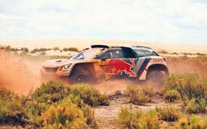 Picture Sand, Auto, Sport, Machine, Speed, Race, Dirt, Peugeot, Squirt, Red Bull, Rally, Dakar, Dakar, SUV, …