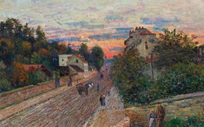 Picture landscape, picture, Alfred Sisley, Alfred Sisley, Sunset. The road from Savile to Versailles