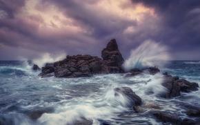 Picture sea, wave, stones, rocks, coast, Spain, Costa Brava
