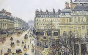 Picture picture, the urban landscape, Camille Pissarro, Place Du Théâtre Français. Rain