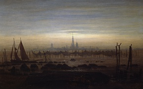 Picture landscape, network, the city, boat, tower, picture, sail, Caspar David Friedrich, Greifswald in Moonlight