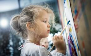 Picture paint, girl, creativity, brush, Martin Stone Thaler