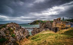 Picture sea, clouds, castle, rocks, coast, England, Aberystwyth