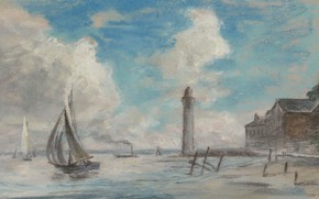 Picture sea, figure, sail, Eugene Boudin, Eugene Boudin, Honfleur. Seaside. The lighthouse and the Ship