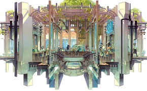 Picture children, tree, design, cafe, railings, canopy, veranda, crown