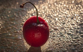 Picture drops, macro, red, cherry, berry