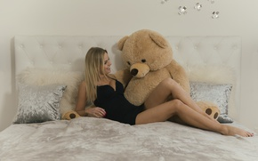 Picture girl, joy, smile, bed, dress, bear, legs