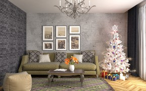 Picture decoration, room, sofa, graphics, tree, interior, chandelier, New year, living room