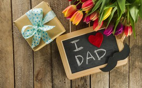 Picture mustache, holiday, gift, bouquet, family, tulips, wood, with, flowers, gift, composition, Father-s-day