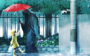 Picture gift, Death, the shower, baby, on the street, red umbrella, cloudy day, Sawan