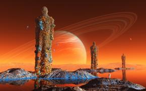 Picture water, mountains, fantasy, fiction, planet, astronaut, the suit, statue, astronaut
