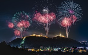 Picture landscape, mountains, the city, holiday, the evening, fireworks
