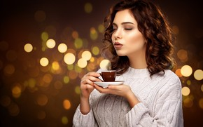 Picture girl, model, hair, makeup, hairstyle, Cup, girl, cup, hair, coffee, hands, closed eyes, wavy hair, …