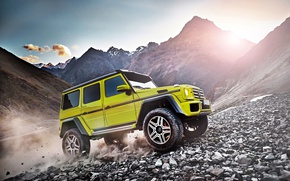 Picture car, Mercedes-Benz, Mercedes, rock, yellow, GLK, montain, Mercedes-Benz Glk, Mercedes GLK