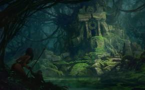 Picture woman, jungle, spear, ruins, warrior, Amazon, Ruins in the jungle