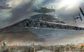 Picture Star Wars, Star Destroyer, Artwork, Star destroyer, TIE Fighter, Galactic Empire