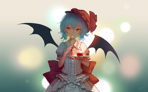 Picture wings, dress, spoon, red eyes, touhou, takes, art, blue background, ruffles, pudding, Touhou Project, Remilia …