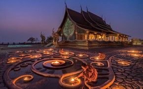 Wallpaper monk, Glow in the Dark, Korawee Ratchapakdee, Buddhism, lights, temple, Myanmar, Myanmar