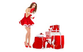 Picture pose, holiday, new year, Christmas, makeup, figure, slim, dress, hairstyle, shoes, gifts, white background, gloves, …