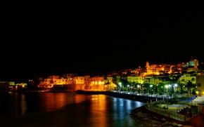Picture night, lights, home, Italy, Apulia, Foggia, Vieste
