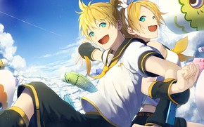 Picture the sky, anime, art, two, Vocaloid, Vocaloid, characters