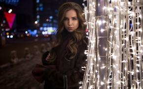 Wallpaper glare, coat, paws, Yana, bokeh, makeup, beauty, brown hair, portrait, model, Ivan Proskurin, night, garland, ...