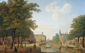 Picture tree, oil, picture, the urban landscape, Hendrik Keun, View of the Timber Market in Amsterdam