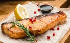Picture lemon, fish, sauce, garnet, salmon, rosemary
