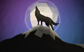 Wallpaper mountain, howl, wolf, the moon