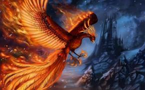 Picture castle, rocks, flame, bird, wings, fantasy, art, Phoenix