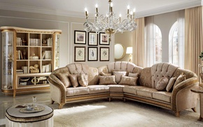 Picture sofa, gold, furniture, interior, chandelier, luxury, living room