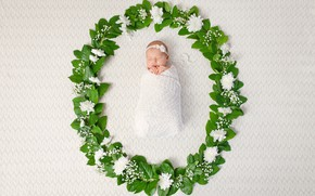 Picture flowers, child, colors, garland, Baby, newborn