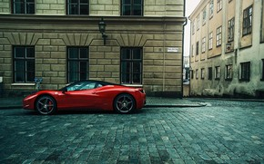 Wallpaper street, red, supercar, Ferrari, cobblestone, city, building, Ferrari 458, car, Ferrari 458 Italia, urban