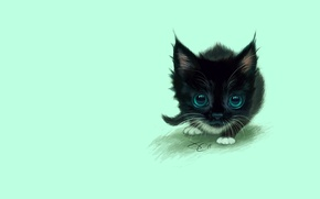 Wallpaper art, kitty, baby, figure, eyes, the game, cat