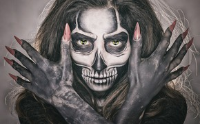 Picture eyes, girl, face, style, hair, skull, makeup, skeleton, fingers, manicure