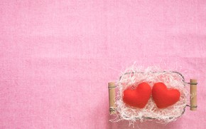 Picture background, Basket, hearts, straw