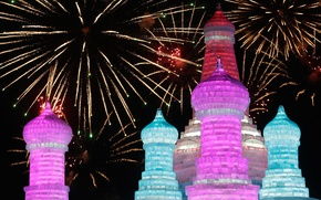 Picture China, fireworks, Harbin, International festival of snow and ice
